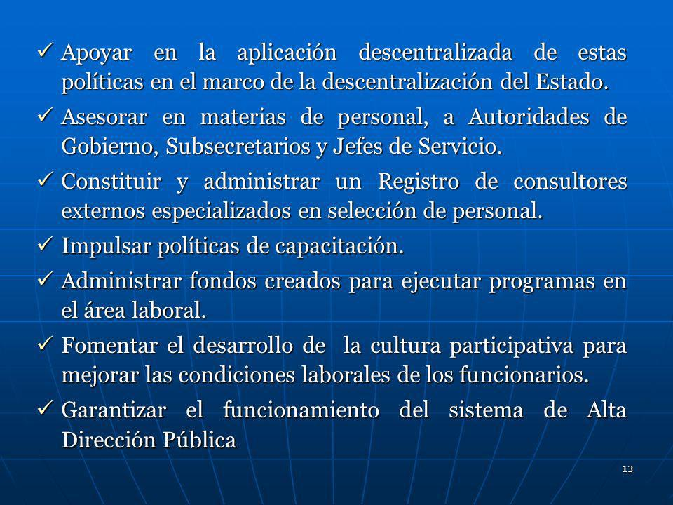 Apoyar en la aplicación descentralizada de estas políticas en el marco de la descentralización del Estado.