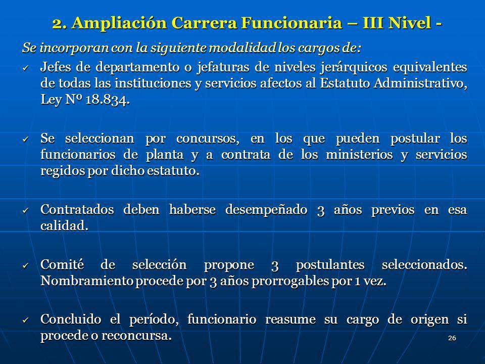 2. Ampliación Carrera Funcionaria – III Nivel -