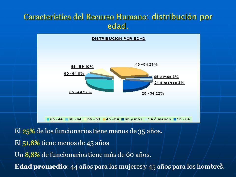 Característica del Recurso Humano: distribución por edad.