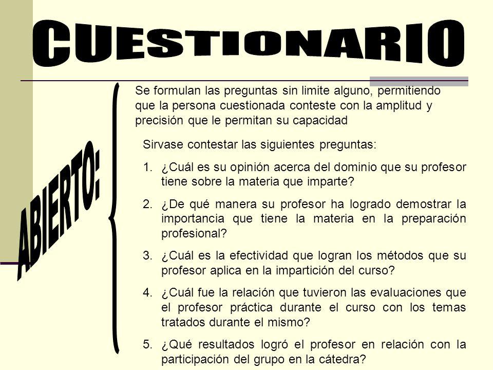 CUESTIONARIO ABIERTO: