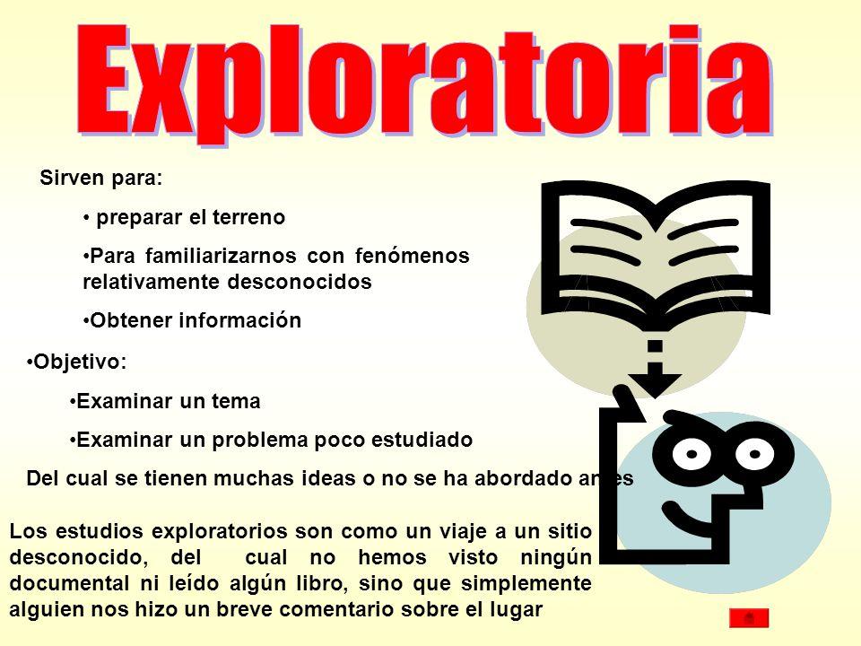 Sirven para: preparar el terreno. Para familiarizarnos con fenómenos relativamente desconocidos. Obtener información.