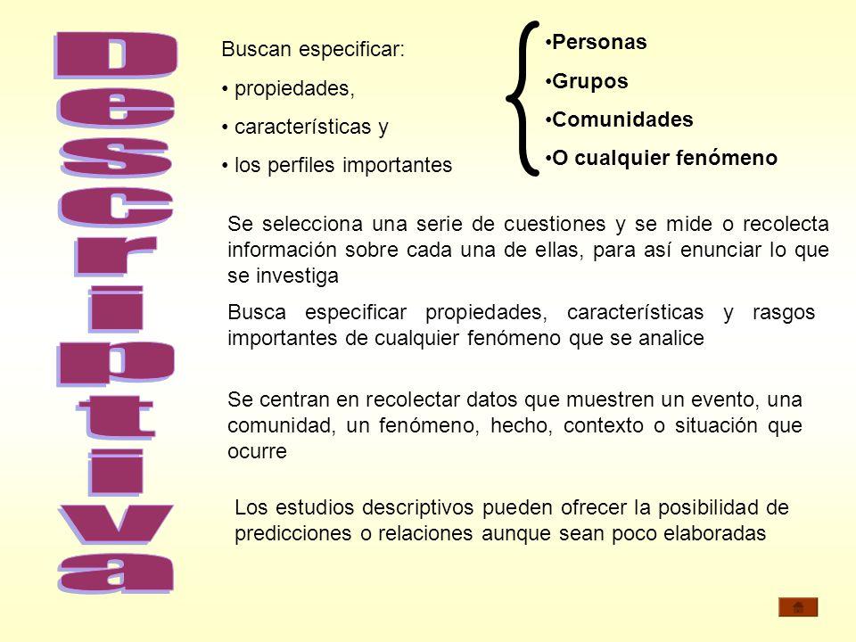 Personas Grupos. Comunidades. O cualquier fenómeno. Buscan especificar: propiedades, características y.