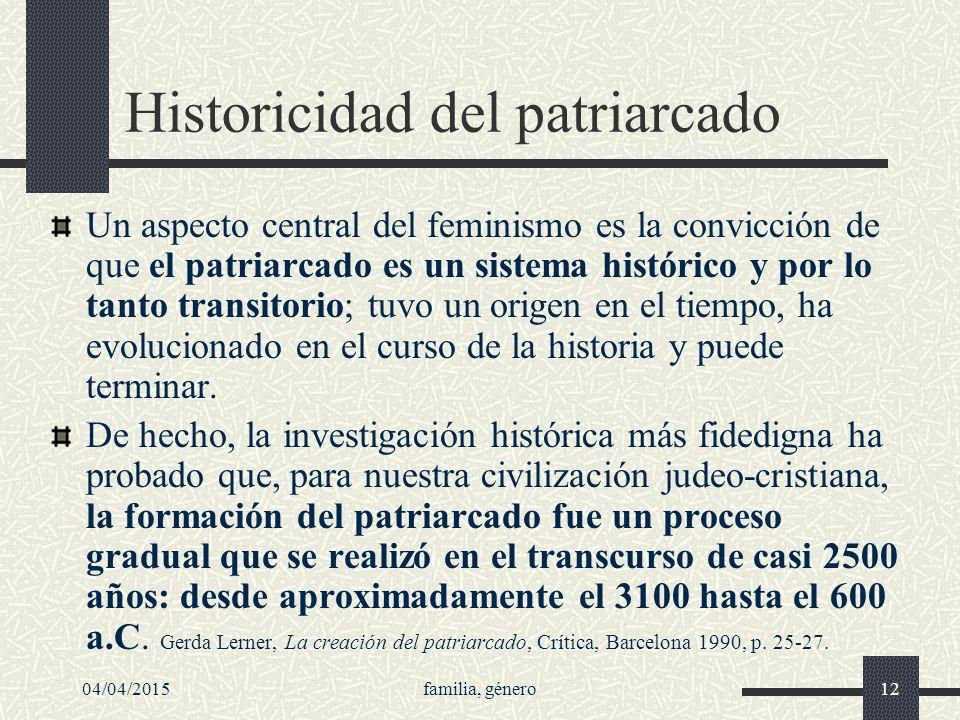 Historicidad del patriarcado