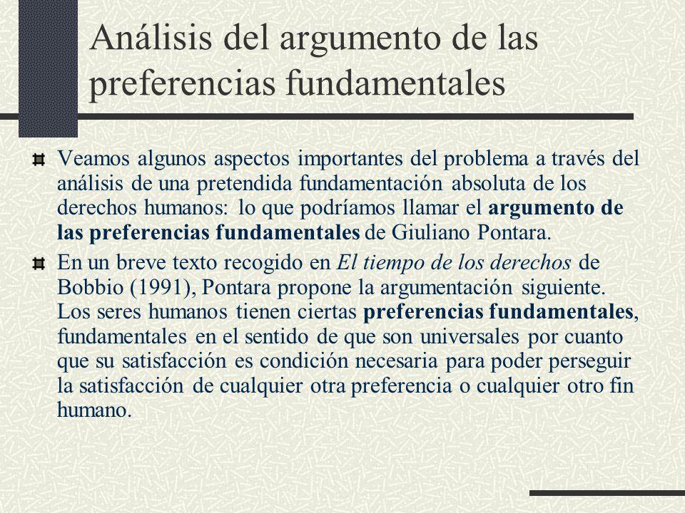 Análisis del argumento de las preferencias fundamentales