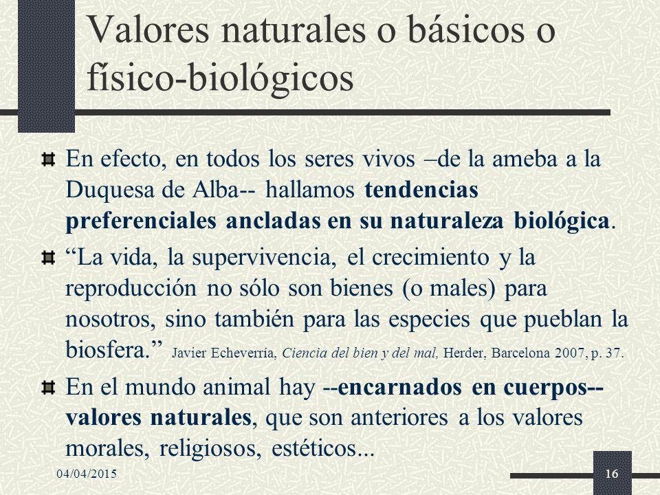 Valores naturales o básicos o físico-biológicos