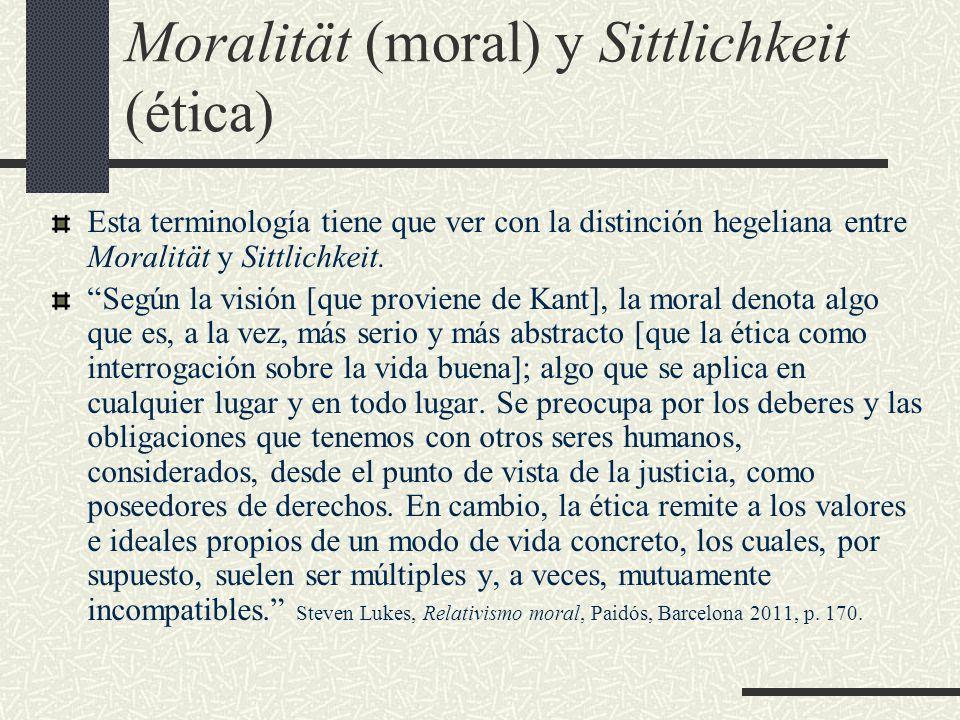Moralität (moral) y Sittlichkeit (ética)