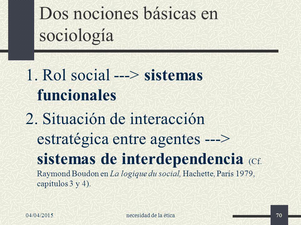Dos nociones básicas en sociología