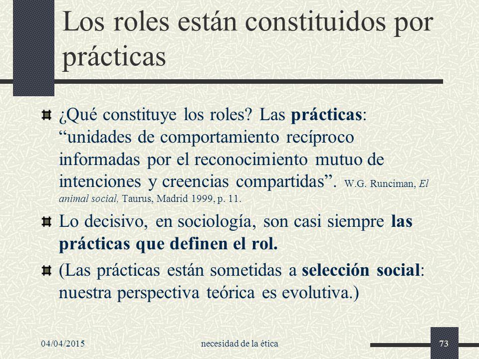 Los roles están constituidos por prácticas