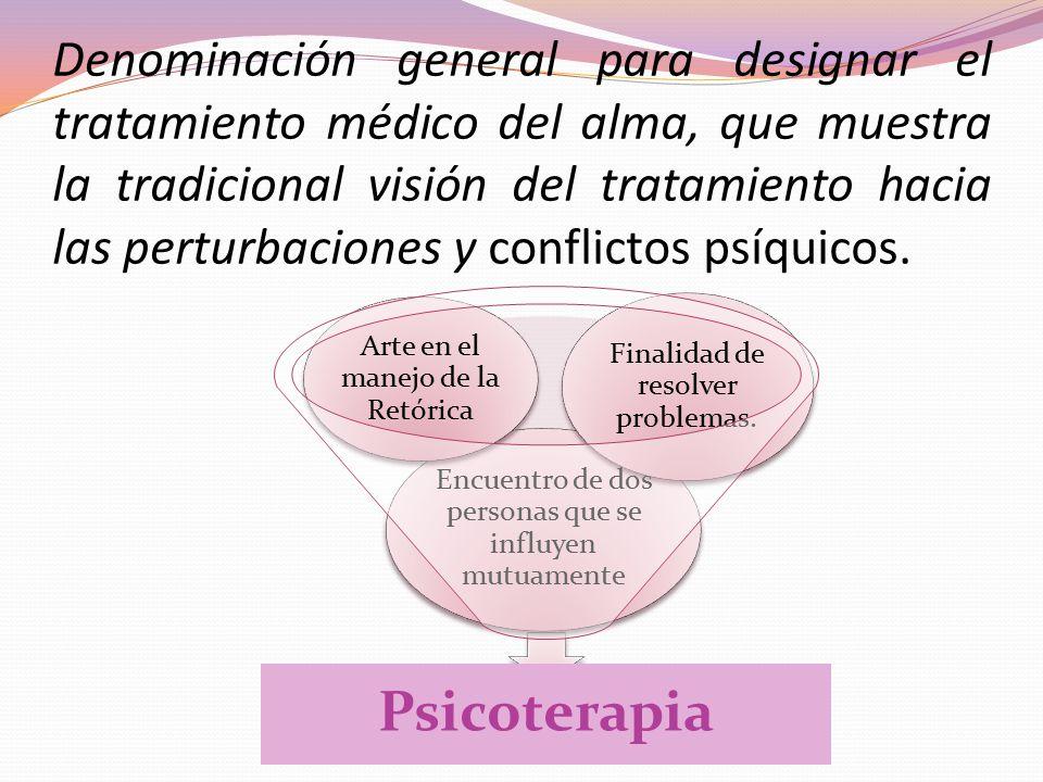 Denominación general para designar el tratamiento médico del alma, que muestra la tradicional visión del tratamiento hacia las perturbaciones y conflictos psíquicos.