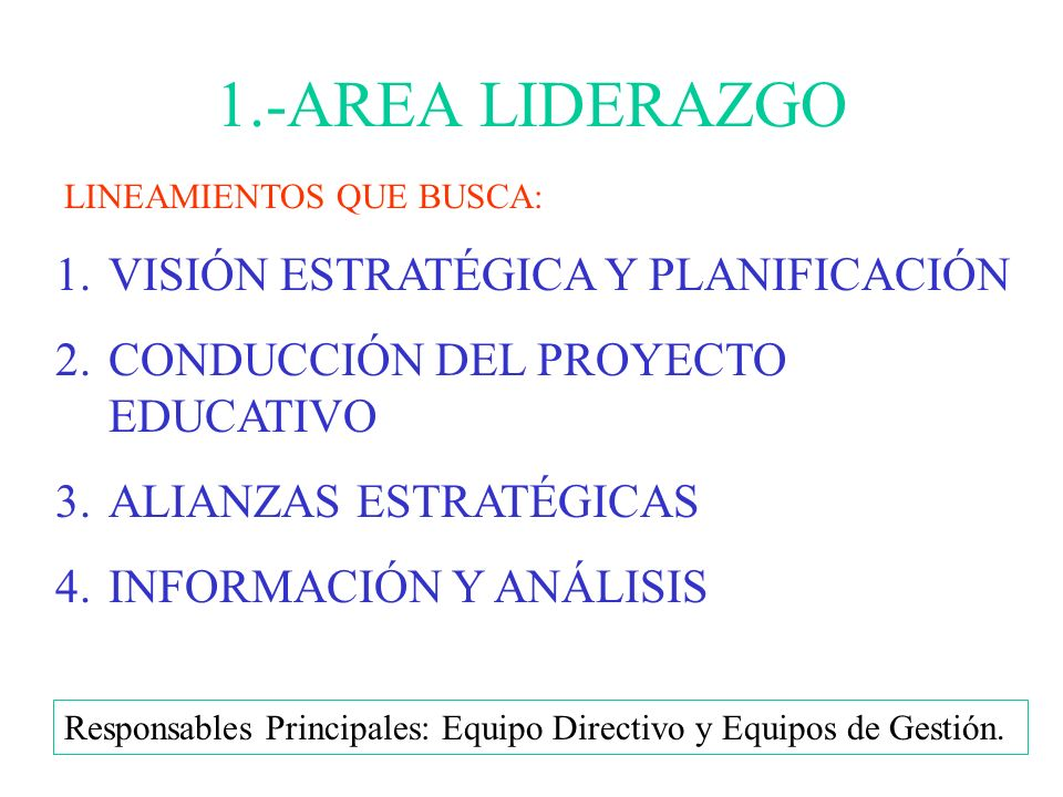 1.-AREA LIDERAZGO VISIÓN ESTRATÉGICA Y PLANIFICACIÓN