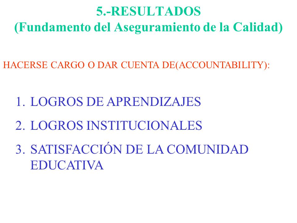 5.-RESULTADOS (Fundamento del Aseguramiento de la Calidad)