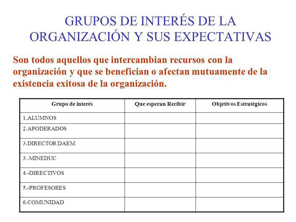 GRUPOS DE INTERÉS DE LA ORGANIZACIÓN Y SUS EXPECTATIVAS