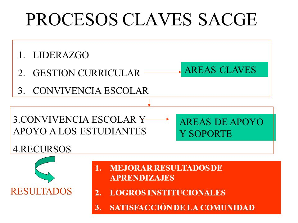 PROCESOS CLAVES SACGE LIDERAZGO GESTION CURRICULAR CONVIVENCIA ESCOLAR