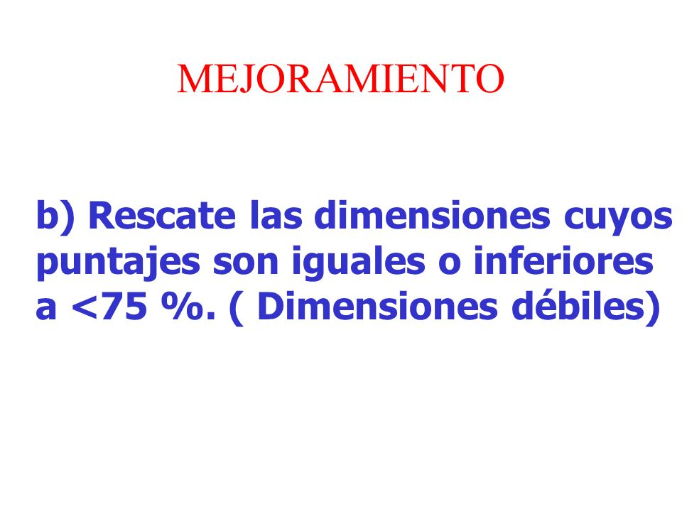 MEJORAMIENTO b) Rescate las dimensiones cuyos puntajes son iguales o inferiores a <75 %.