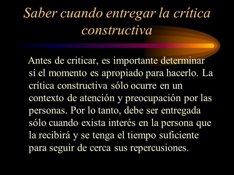 Saber cuando entregar la crítica constructiva