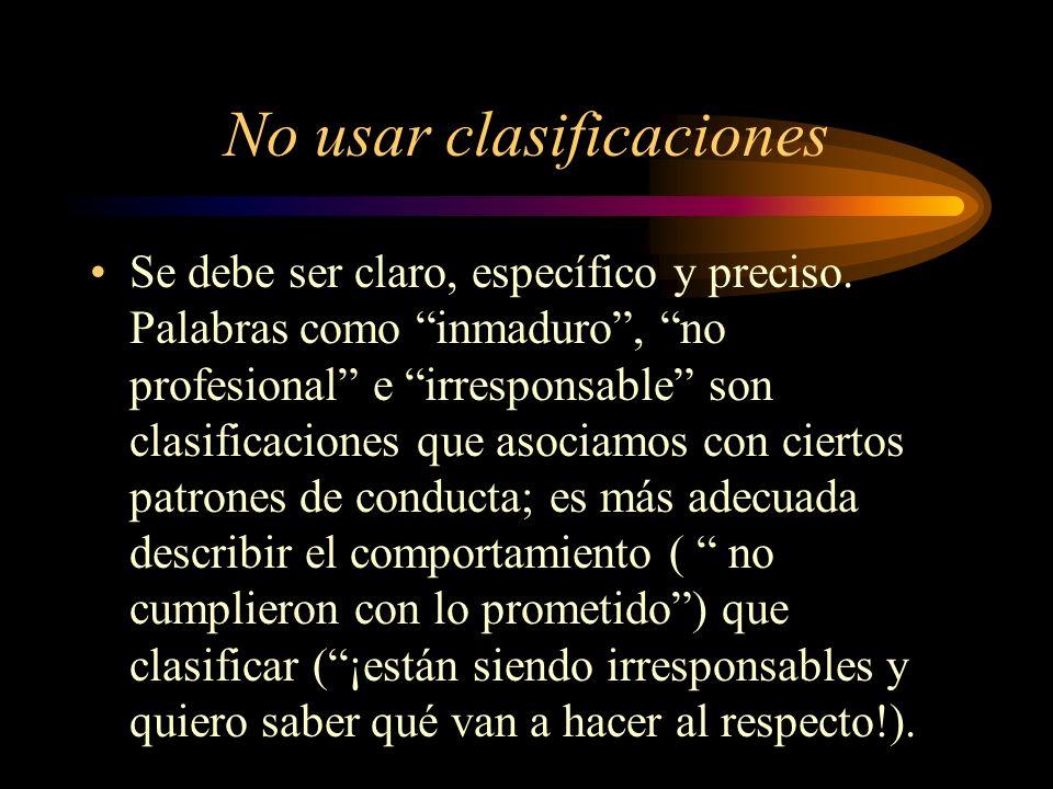 No usar clasificaciones