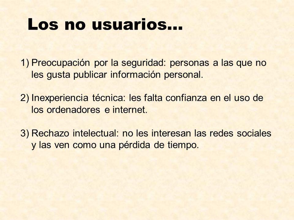 Los no usuarios… Preocupación por la seguridad: personas a las que no les gusta publicar información personal.