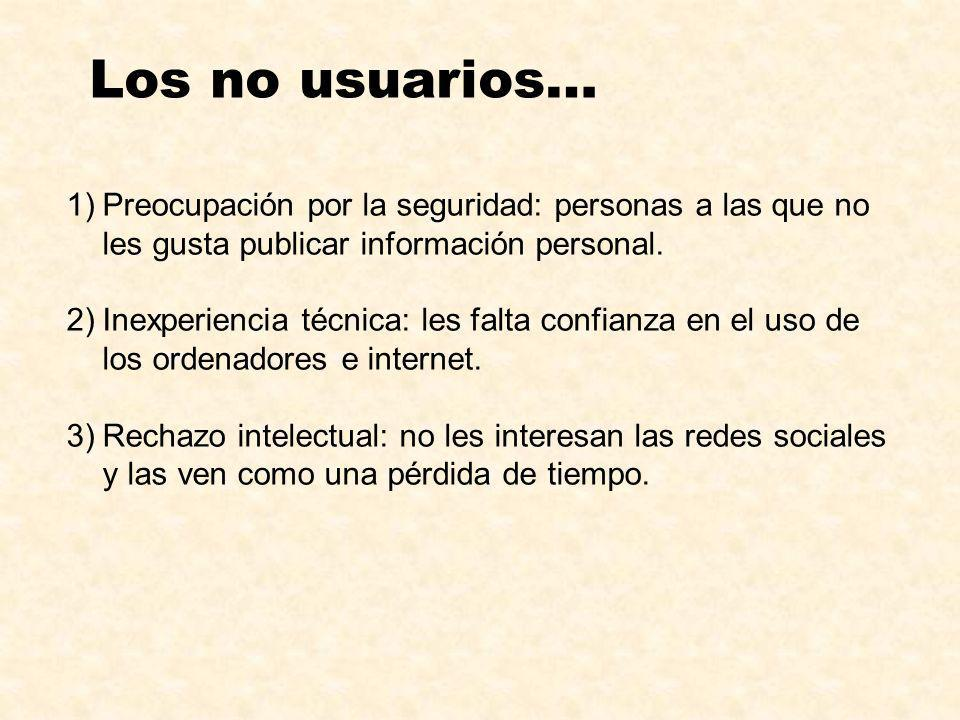Los no usuarios…Preocupación por la seguridad: personas a las que no les gusta publicar información personal.