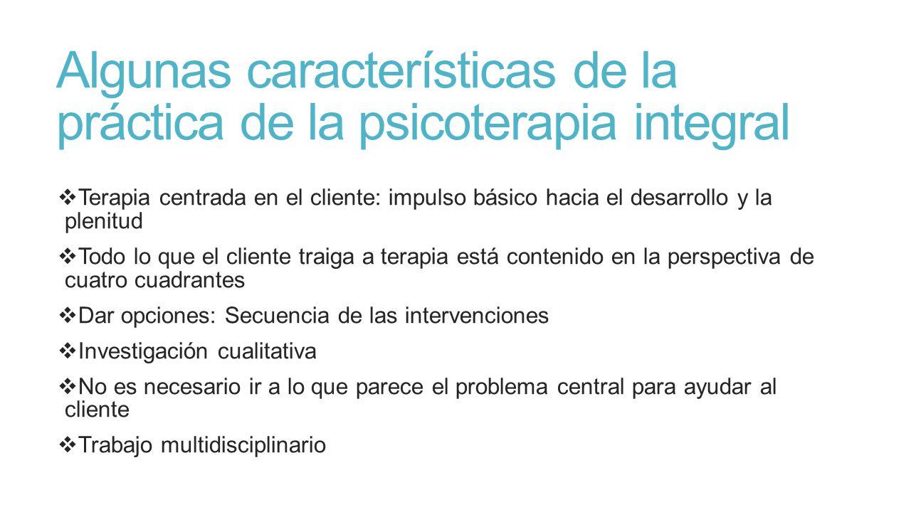Algunas características de la práctica de la psicoterapia integral