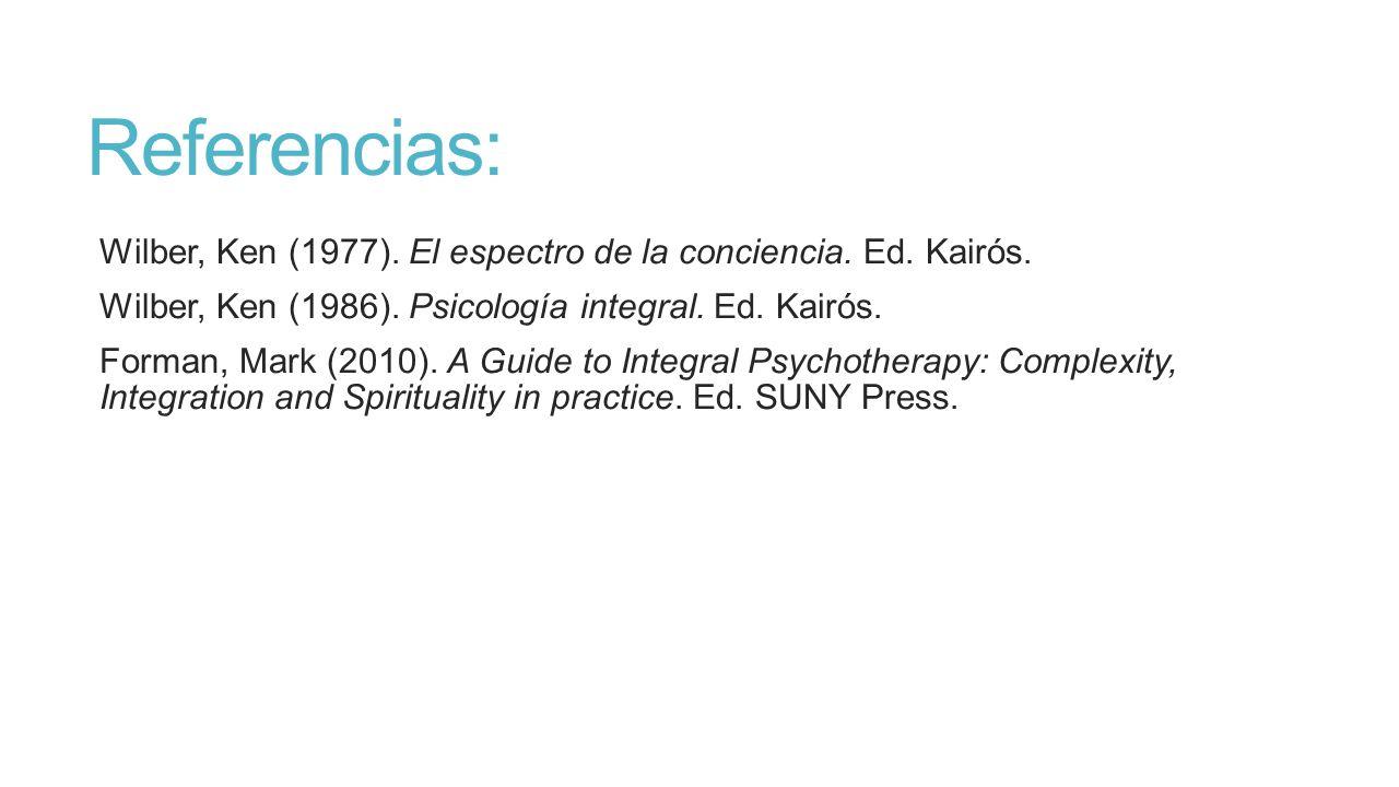 Referencias: Wilber, Ken (1977). El espectro de la conciencia. Ed. Kairós. Wilber, Ken (1986). Psicología integral. Ed. Kairós.