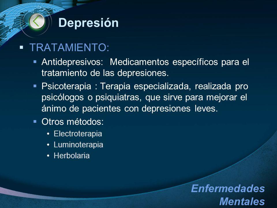 Depresión TRATAMIENTO: