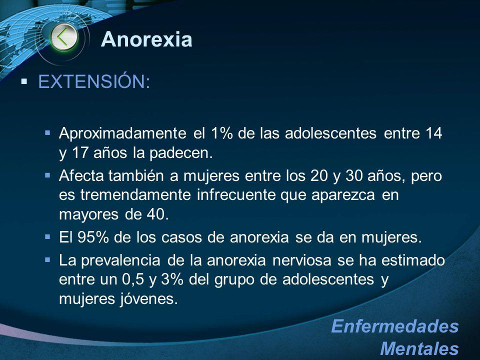 Anorexia EXTENSIÓN: Aproximadamente el 1% de las adolescentes entre 14 y 17 años la padecen.