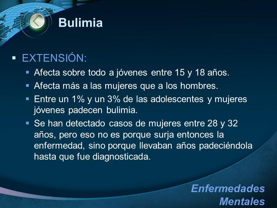 Bulimia EXTENSIÓN: Afecta sobre todo a jóvenes entre 15 y 18 años.