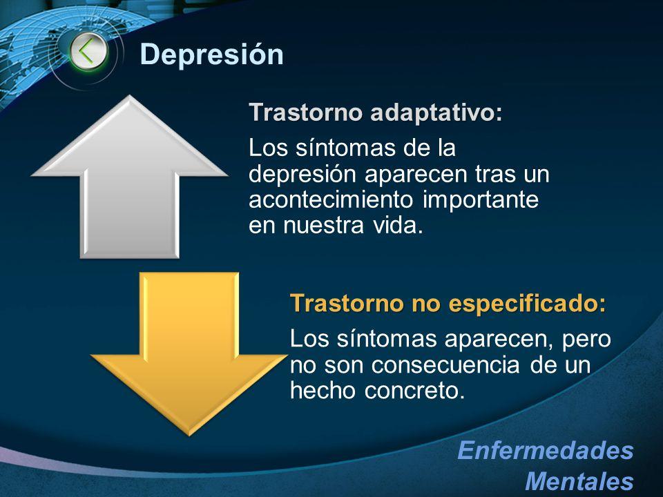 Depresión Los síntomas de la depresión aparecen tras un acontecimiento importante en nuestra vida. Trastorno adaptativo: