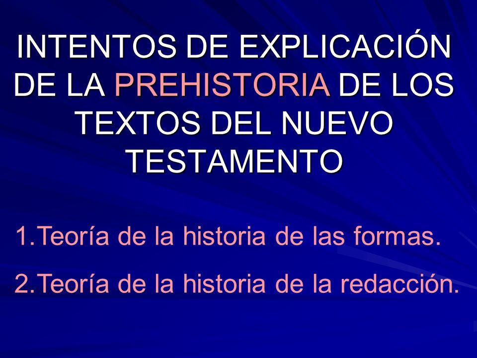 INTENTOS DE EXPLICACIÓN DE LA PREHISTORIA DE LOS TEXTOS DEL NUEVO TESTAMENTO