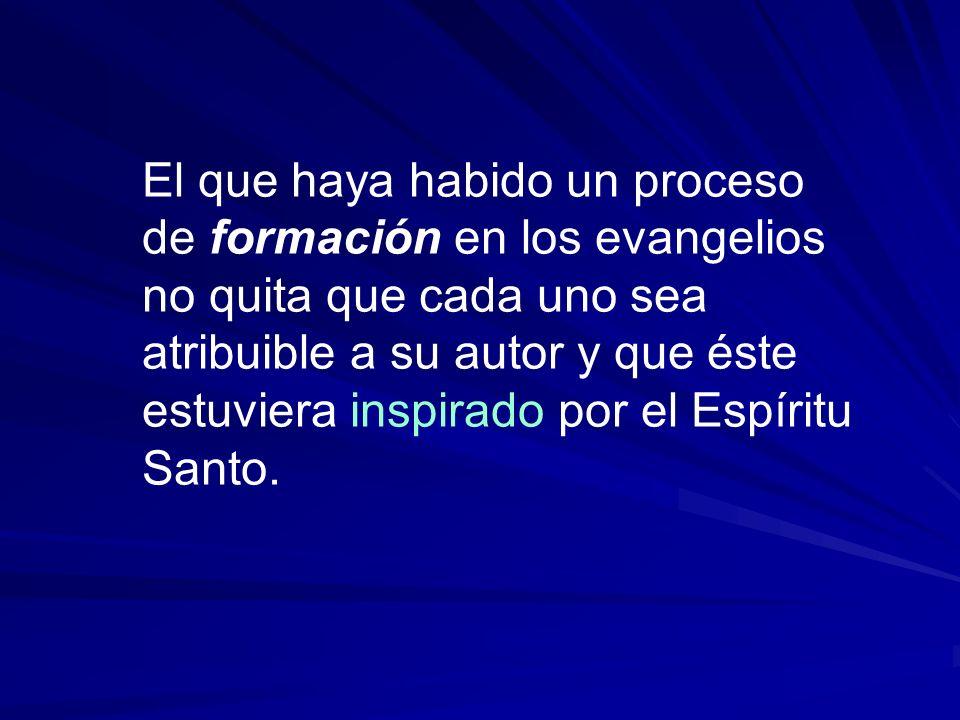 El que haya habido un proceso de formación en los evangelios no quita que cada uno sea atribuible a su autor y que éste estuviera inspirado por el Espíritu Santo.