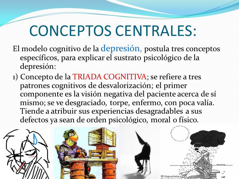 CONCEPTOS CENTRALES: El modelo cognitivo de la depresión, postula tres conceptos específicos, para explicar el sustrato psicológico de la depresión: