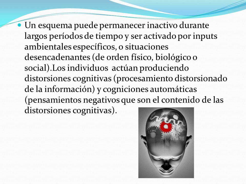 Un esquema puede permanecer inactivo durante largos períodos de tiempo y ser activado por inputs ambientales específicos, o situaciones desencadenantes (de orden físico, biológico o social).Los individuos actúan produciendo distorsiones cognitivas (procesamiento distorsionado de la información) y cogniciones automáticas (pensamientos negativos que son el contenido de las distorsiones cognitivas).