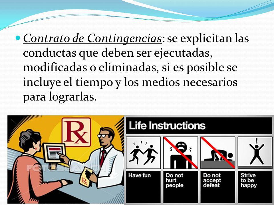 Contrato de Contingencias: se explicitan las conductas que deben ser ejecutadas, modificadas o eliminadas, si es posible se incluye el tiempo y los medios necesarios para lograrlas.