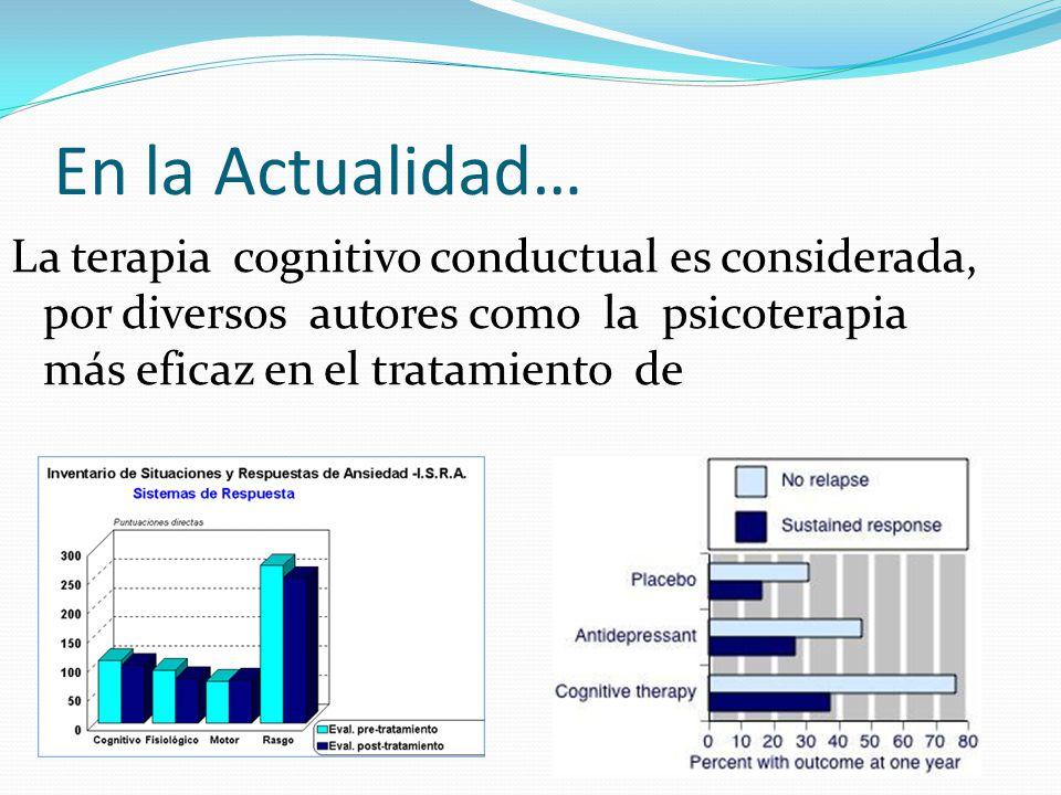 En la Actualidad… La terapia cognitivo conductual es considerada, por diversos autores como la psicoterapia más eficaz en el tratamiento de.