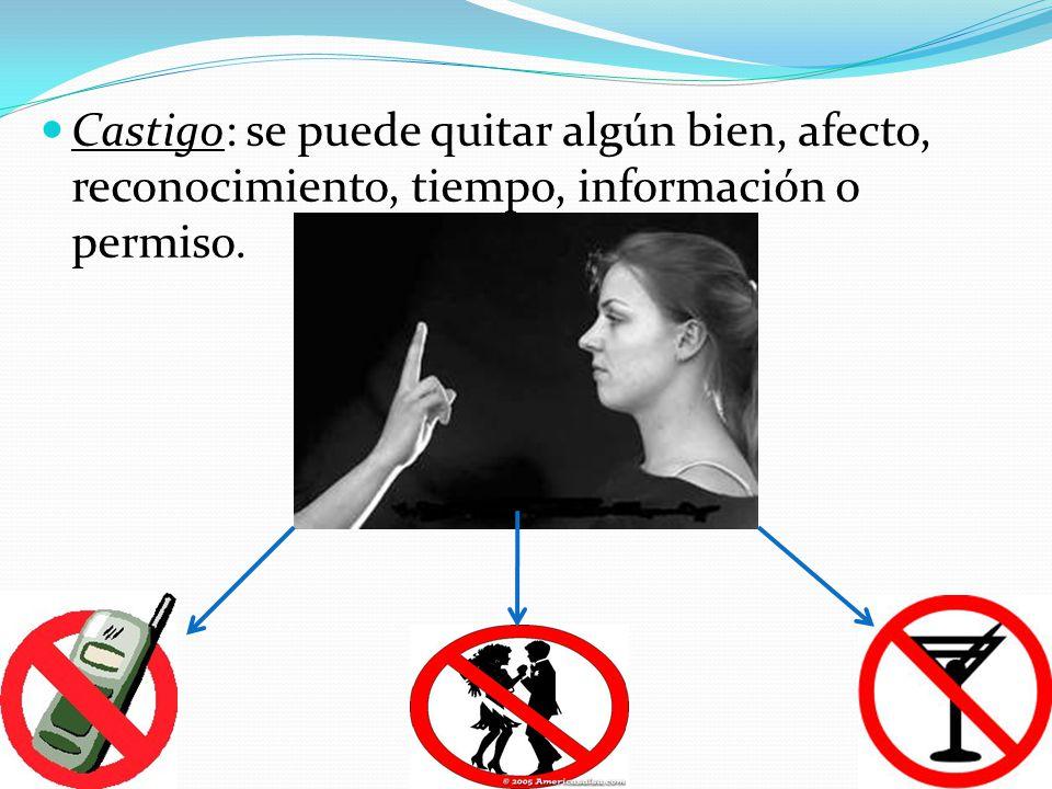 Castigo: se puede quitar algún bien, afecto, reconocimiento, tiempo, información o permiso.