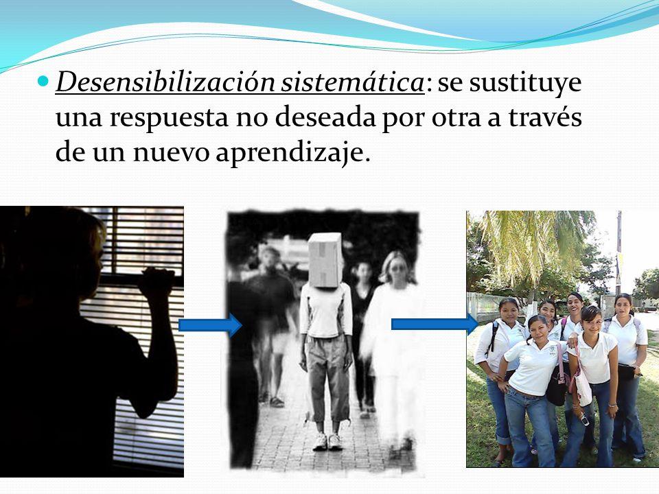 Desensibilización sistemática: se sustituye una respuesta no deseada por otra a través de un nuevo aprendizaje.