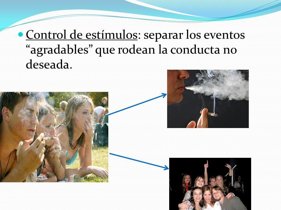 Control de estímulos: separar los eventos agradables que rodean la conducta no deseada.
