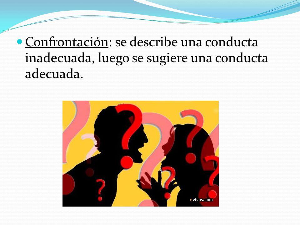 Confrontación: se describe una conducta inadecuada, luego se sugiere una conducta adecuada.