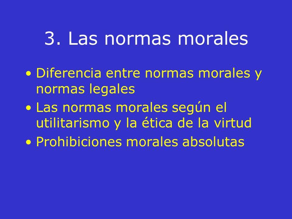 3. Las normas morales Diferencia entre normas morales y normas legales