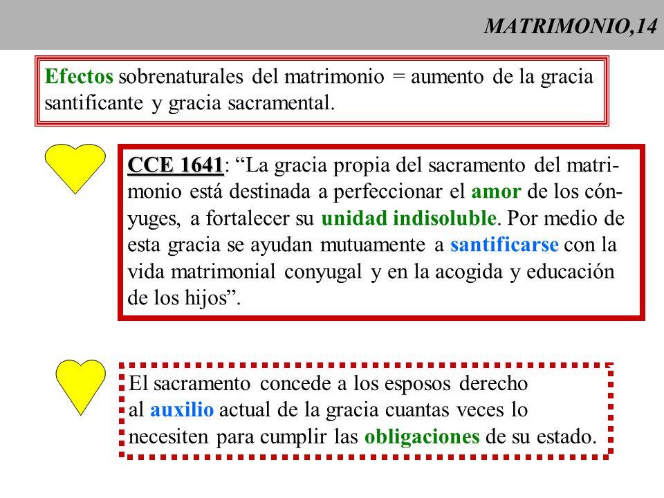 MATRIMONIO,14Efectos sobrenaturales del matrimonio = aumento de la gracia. santificante y gracia sacramental.