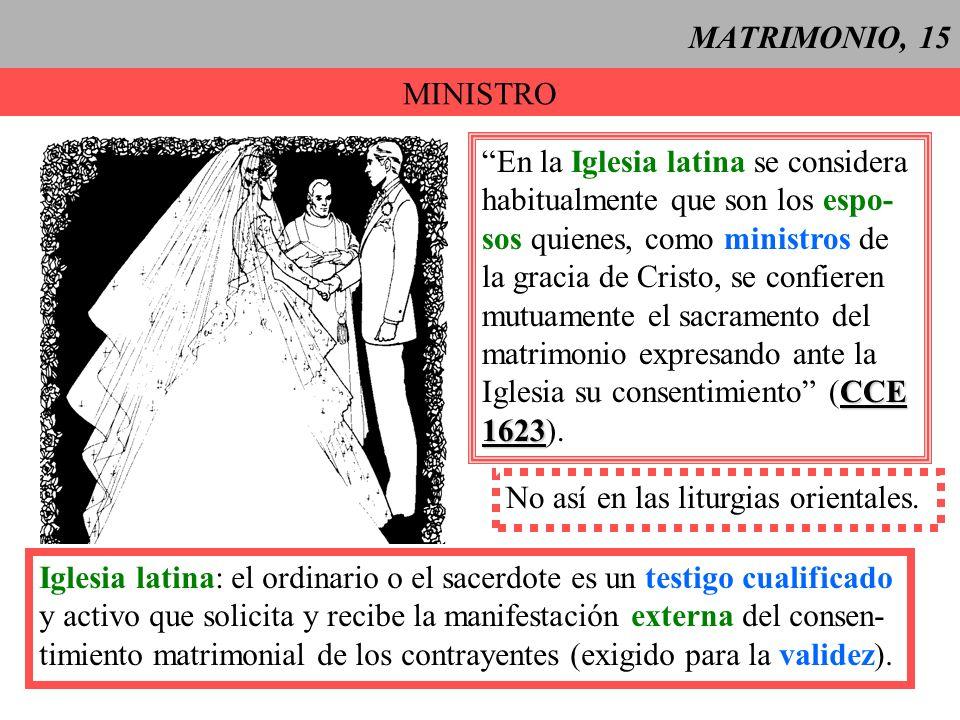 MATRIMONIO, 15 MINISTRO. En la Iglesia latina se considera. habitualmente que son los espo- sos quienes, como ministros de.