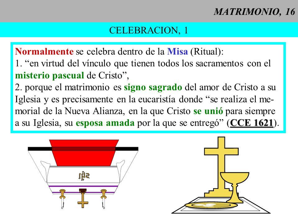 MATRIMONIO, 16 CELEBRACION, 1. Normalmente se celebra dentro de la Misa (Ritual): 1. en virtud del vínculo que tienen todos los sacramentos con el.