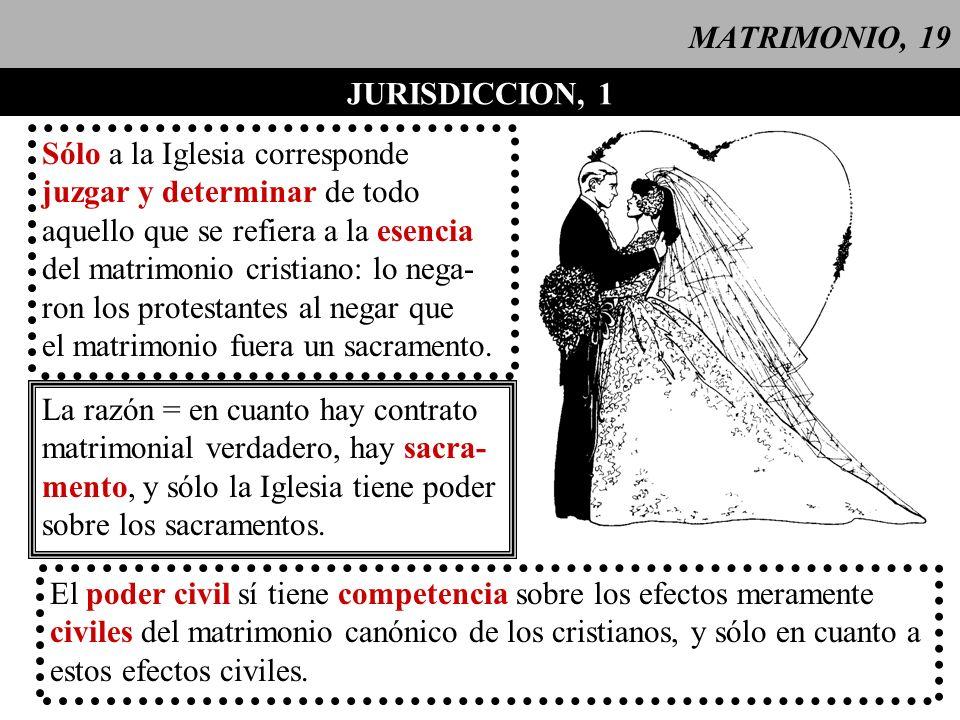 MATRIMONIO, 19 JURISDICCION, 1. Sólo a la Iglesia corresponde. juzgar y determinar de todo. aquello que se refiera a la esencia.
