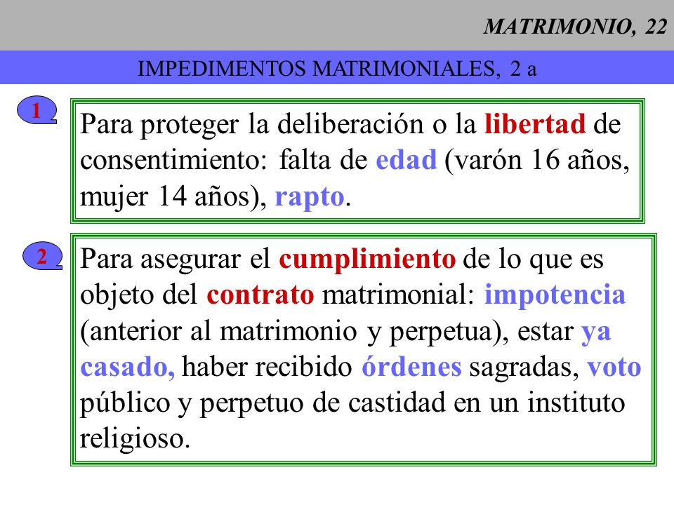 IMPEDIMENTOS MATRIMONIALES, 2 a