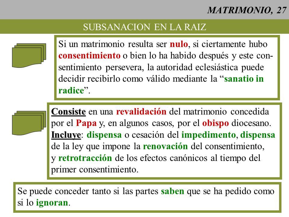 MATRIMONIO, 27SUBSANACION EN LA RAIZ. Si un matrimonio resulta ser nulo, si ciertamente hubo. consentimiento o bien lo ha habido después y este con-