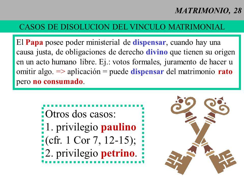 CASOS DE DISOLUCION DEL VINCULO MATRIMONIAL