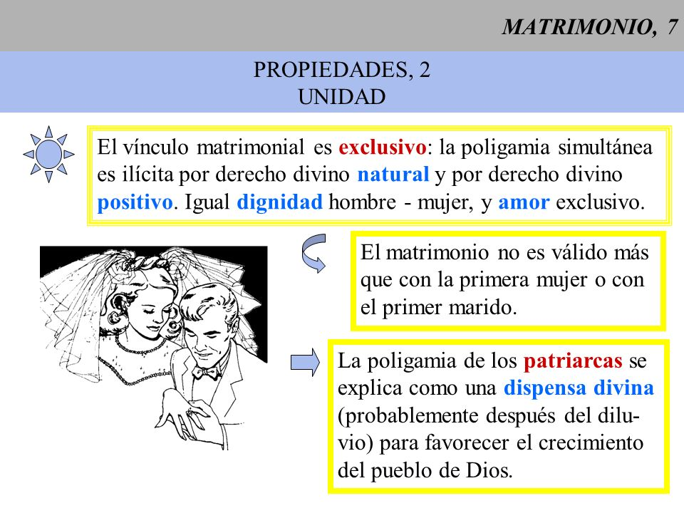 MATRIMONIO, 7 PROPIEDADES, 2. UNIDAD. El vínculo matrimonial es exclusivo: la poligamia simultánea.