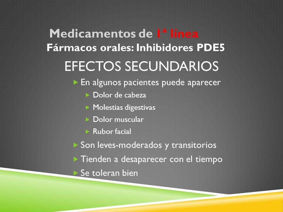 Efectos secundarios Fármacos orales: Inhibidores PDE5
