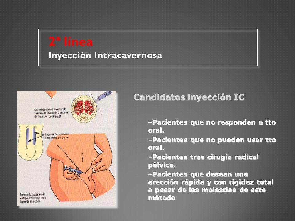2ª línea Inyección Intracavernosa Candidatos inyección IC
