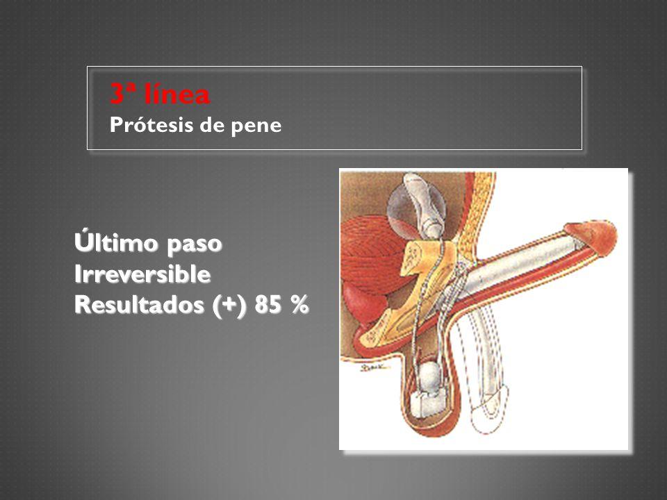3ª línea Prótesis de pene Último paso Irreversible Resultados (+) 85 %